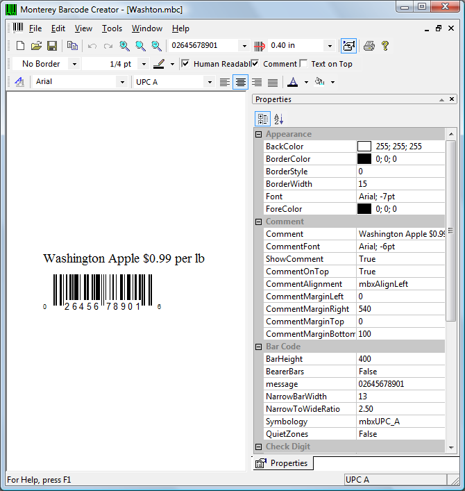 As you can see, Monterey Barcode Creator has plenty of options for your barcodes.
