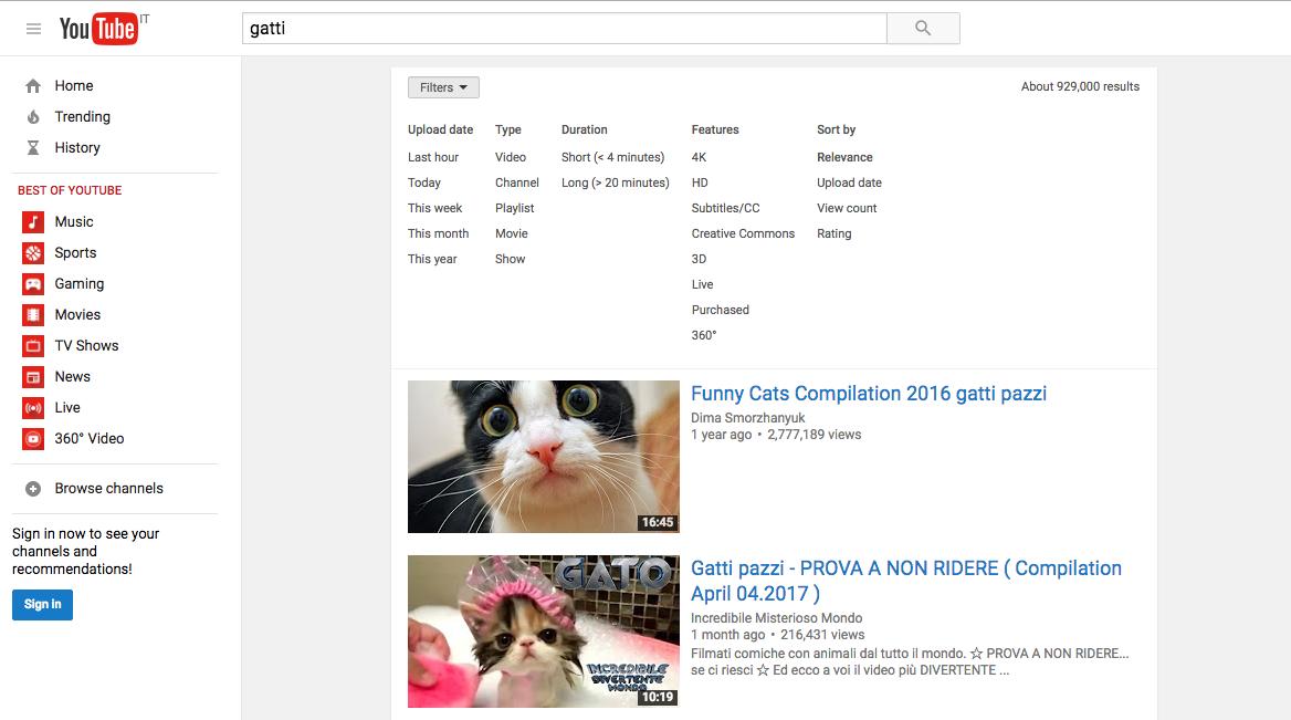 ricerca youtube
