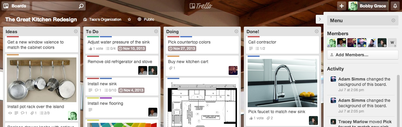 One of Trello's board: you can see its cards on it.