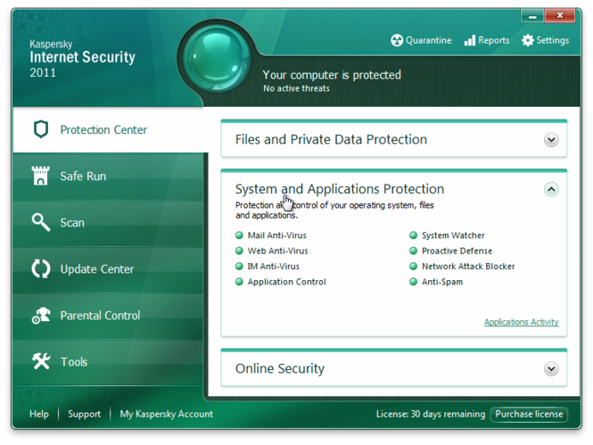Kaspersky Internet Security provides many tools for your PC protection.