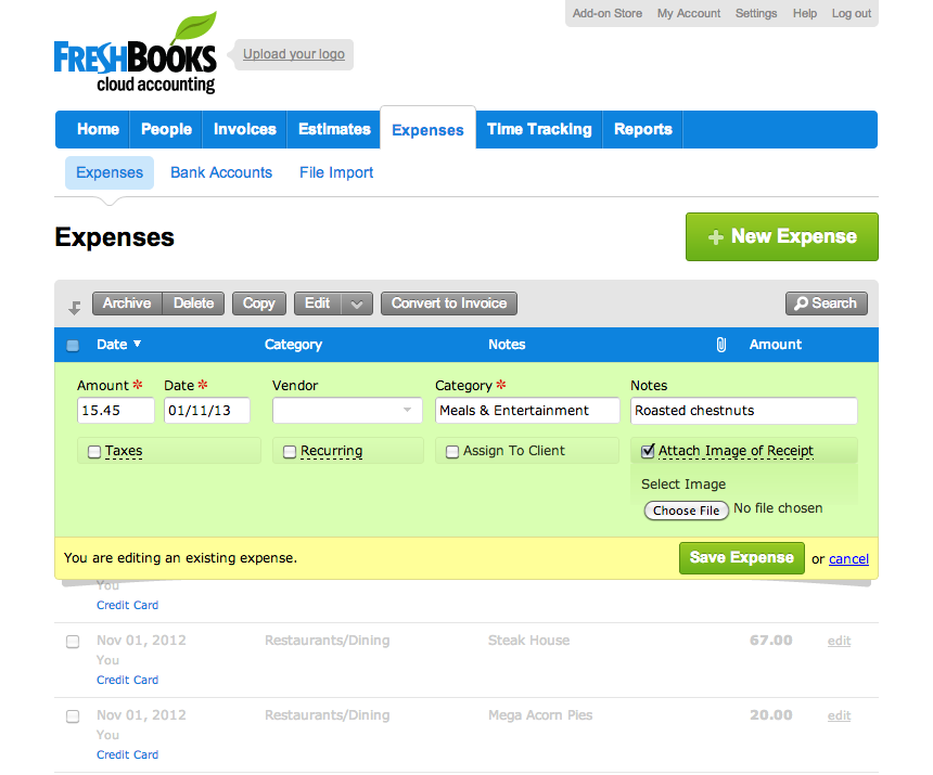Easily track your expenses with FreshBooks.