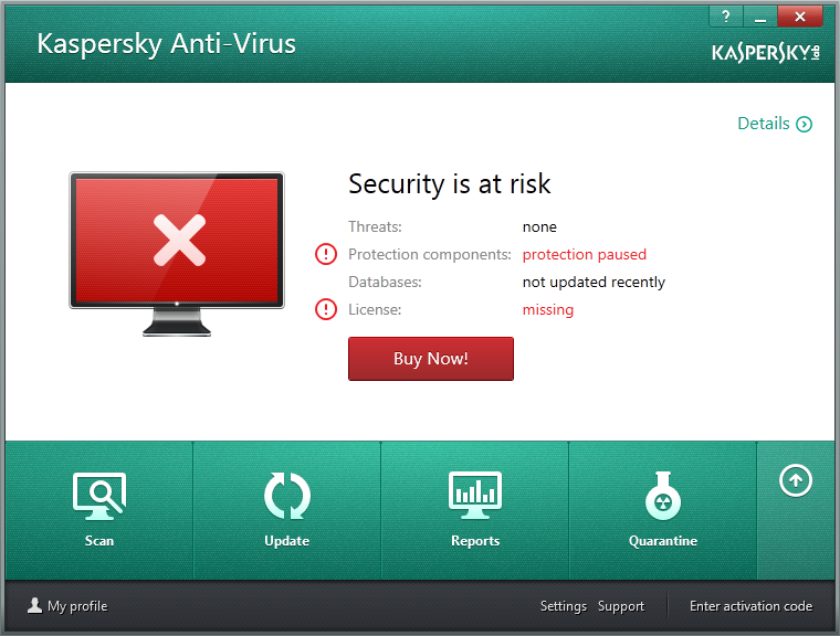 As you can see, Kaspersky Anti-Virus has a clean design that help you understand your security status.