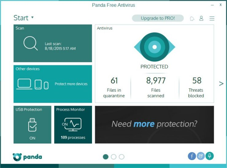 Panda Antivirus 2016 has a clean dashboard from which you can detect any hazard.