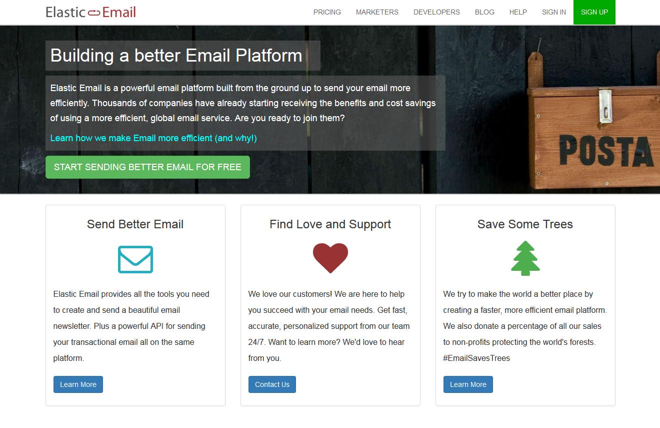 Elastic Email_homepage