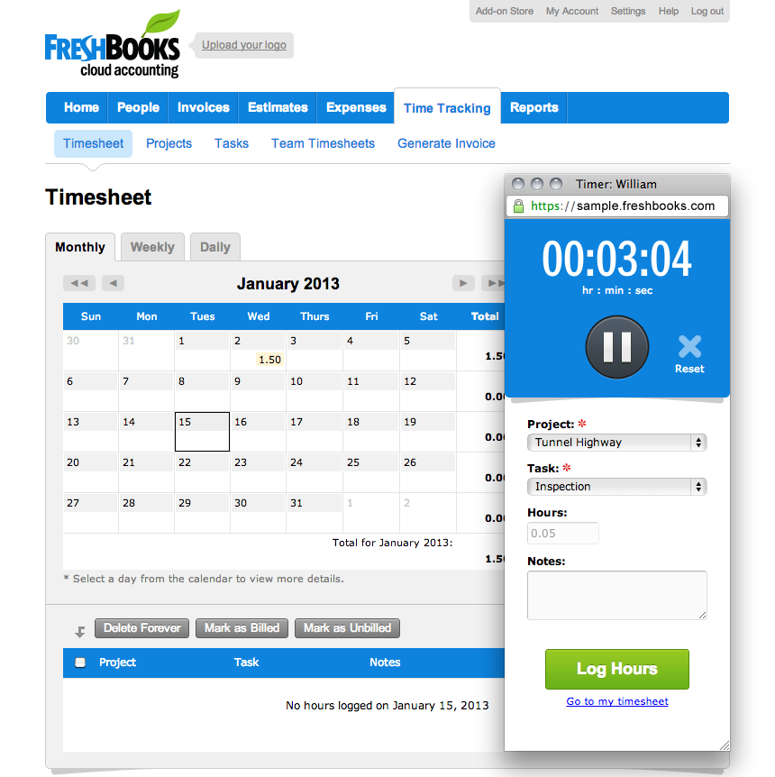 Track your time and then invoice your clients with the built-in timer.