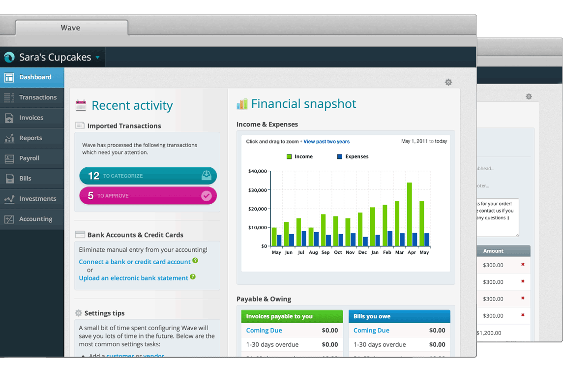 Very simple yet complete, Wave is the perfect online accounting tool for a small business.