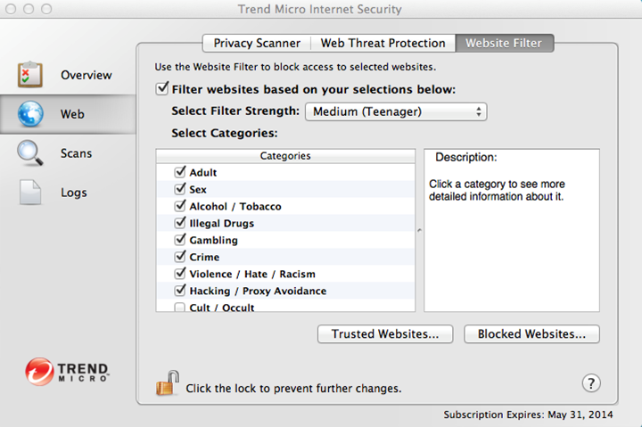 As you can see, Trend Micro Antivirus for Mac provides you with granular filters for your web browsing.