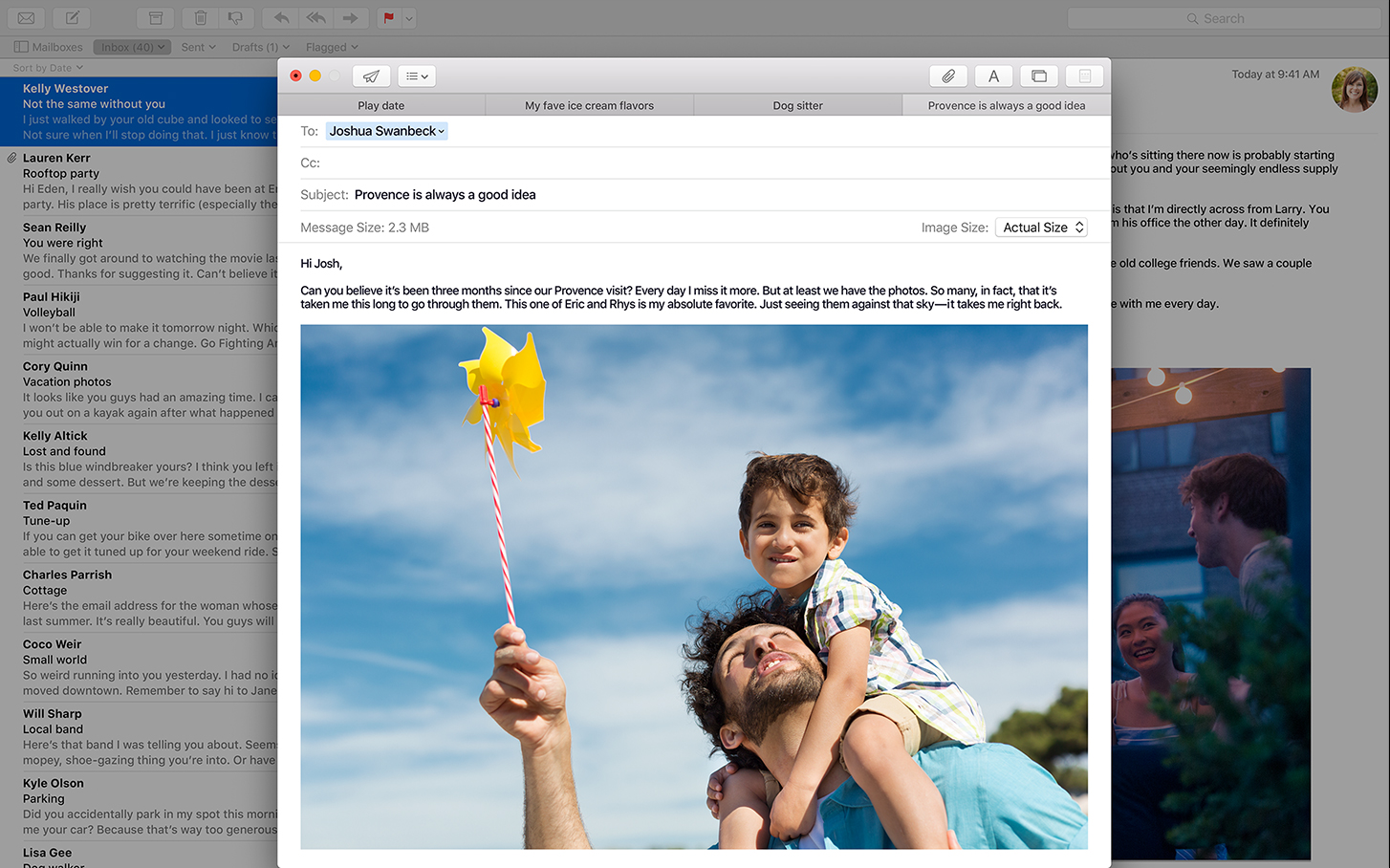 As with all its apps, Apple made sure that Mail is fully functioning in full screen mode.
