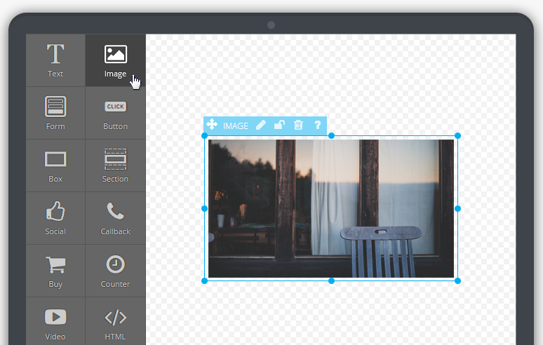 At a first look, Landigi's editor is very simple: but you can find many specific menus whenever you'll need them.
