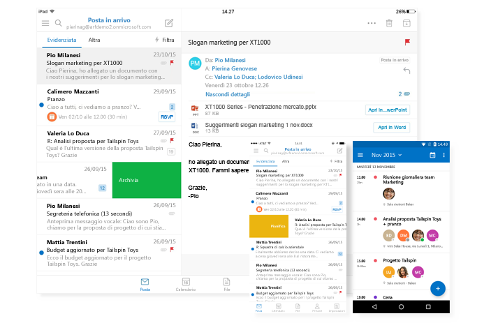 Microsoft's investing heavily on the cloud: their apps, especially Outlook, sync seamlessly between devices.