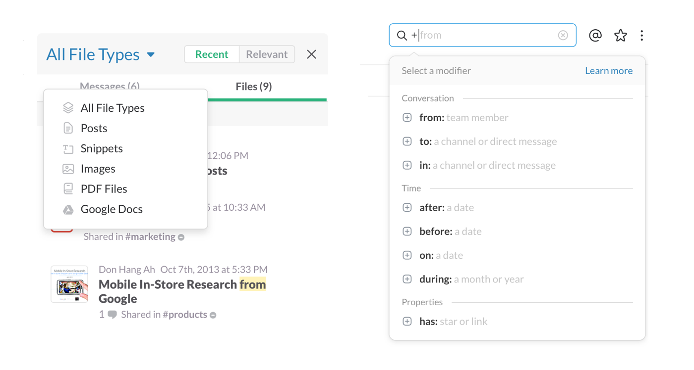 It seems like Slack has very little options, but that's not the case: as you can see, you can manage your team's files in a very meticulous way.
