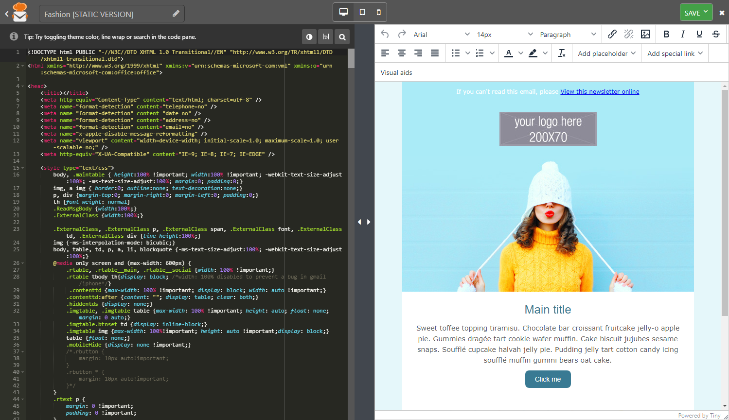 eMailChef newsletter text editor