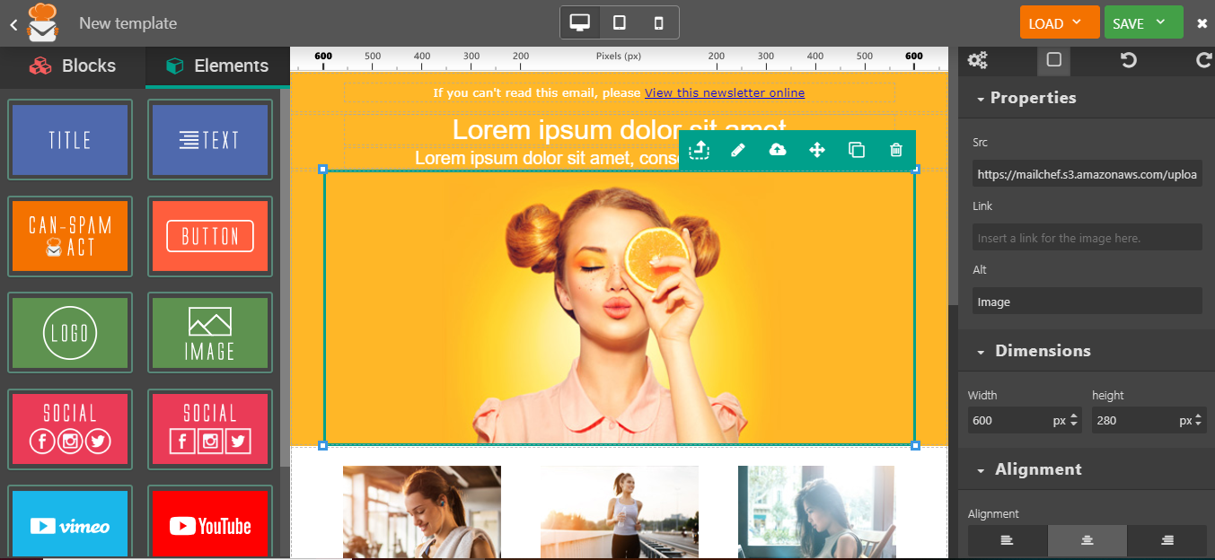eMailChef drag and drop editor